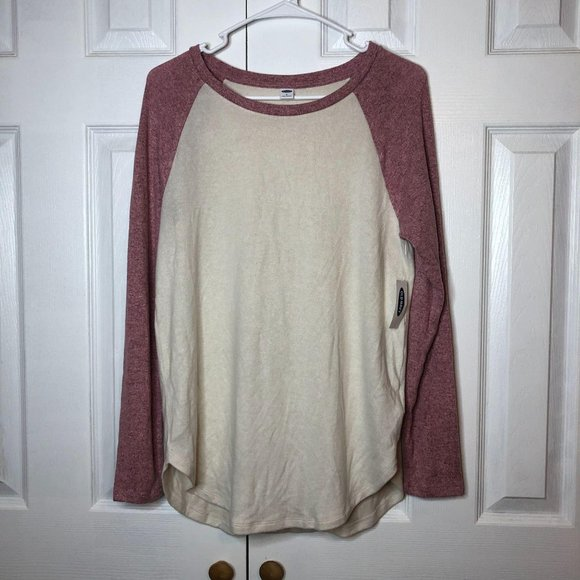 Old Navy Sweaters - NWT Old Navy Pink Cream Baseball Tee Med